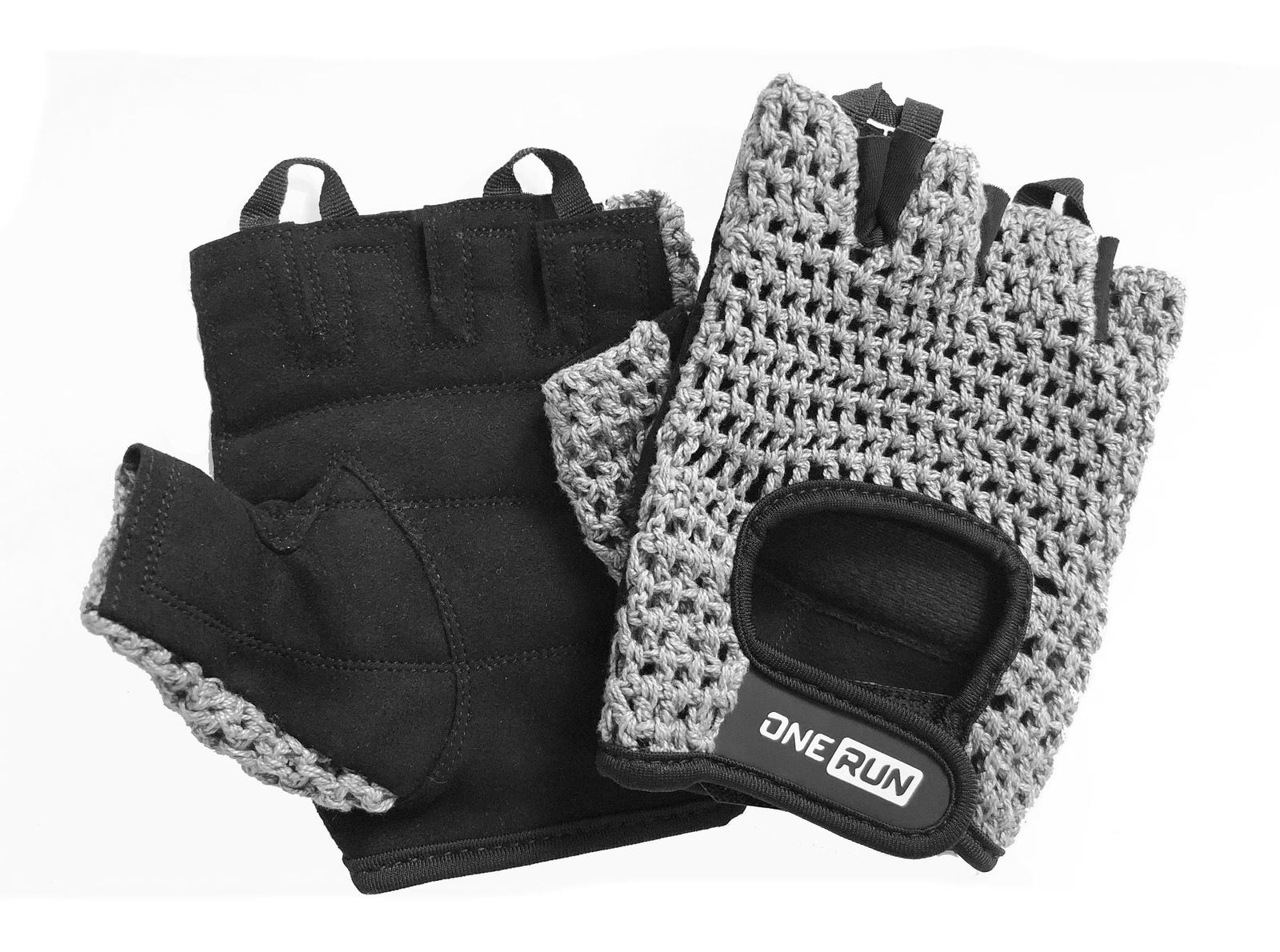 Перчатки для фитнеса OneRun мужские сетка, 16-1954G-L, серый, черный, размер L перчатки рабочие кожа спандекс l