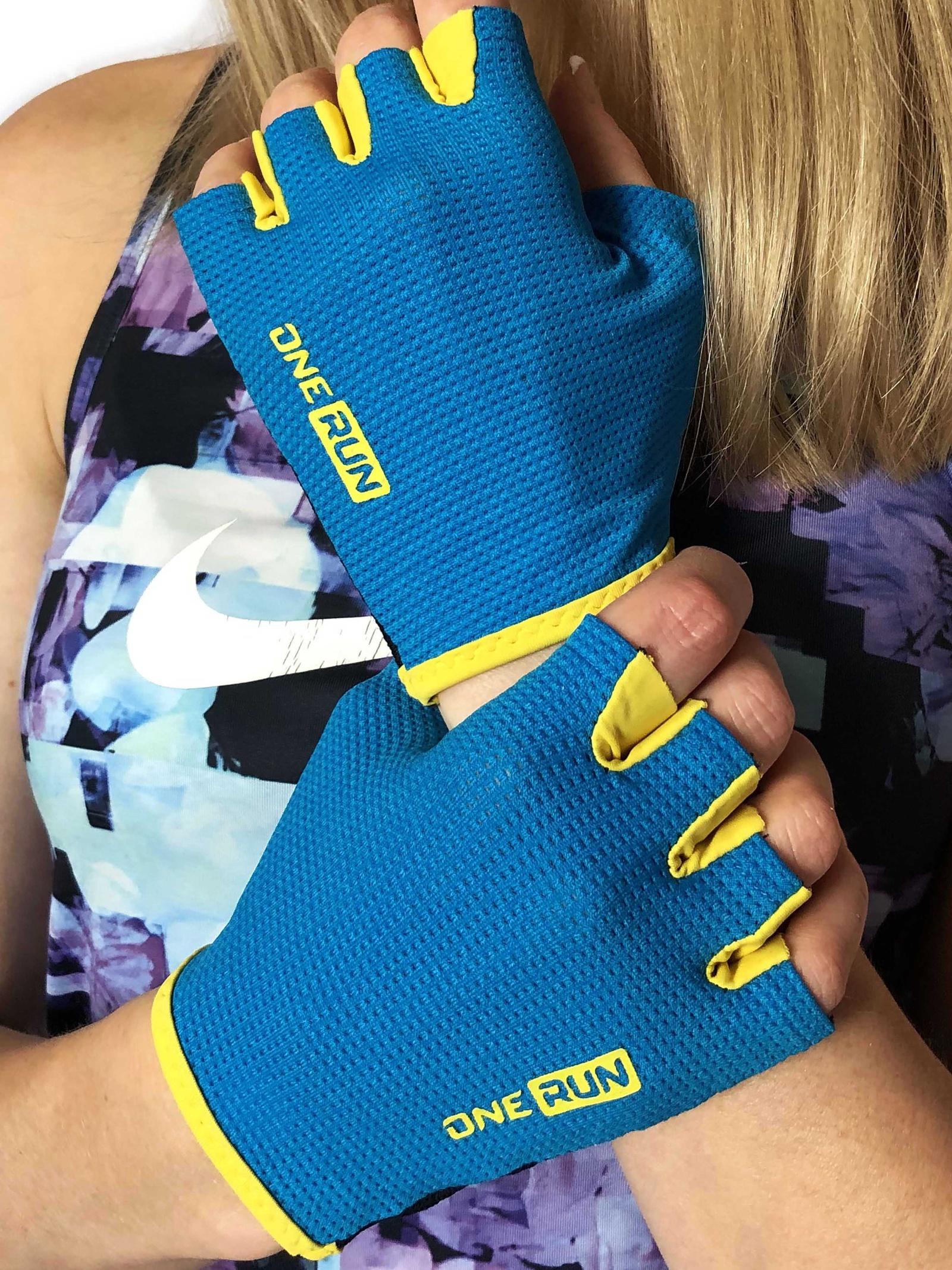 Перчатки для фитнеса OneRun женские, 16-7175BL-S, синий, черный, размер S