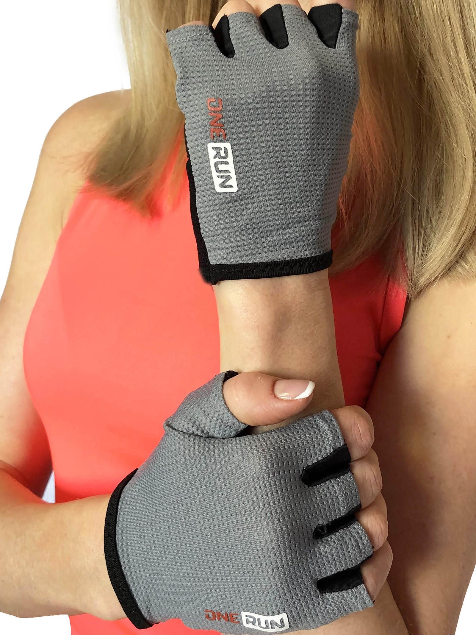 Перчатки для фитнеса OneRun женские, 16-7175G-M, серый, черный, размер M