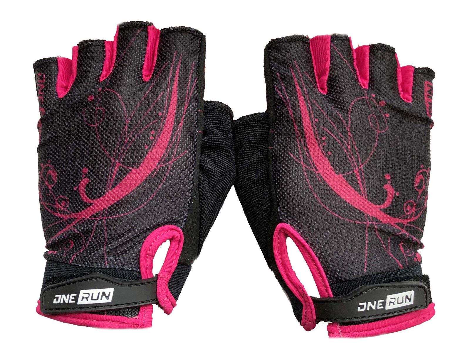 Перчатки для фитнеса OneRun женские узор, AI-05-788-M, розовый, черный, размер M