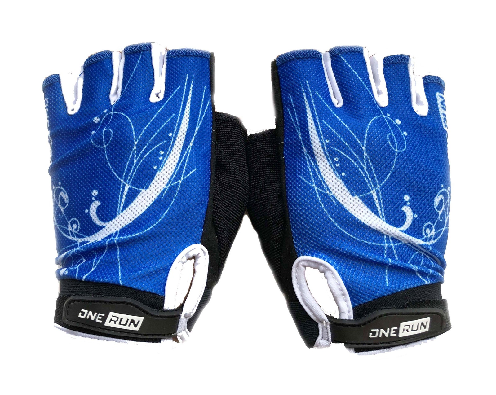 цена на Перчатки для фитнеса OneRun женские узор, AI-05-789-M, синий, черный, размер M