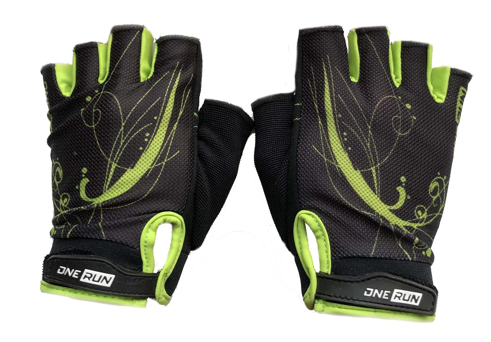 Перчатки для фитнеса OneRun женские узор, AI-05-790-XS, салатовый, черный, размер XS