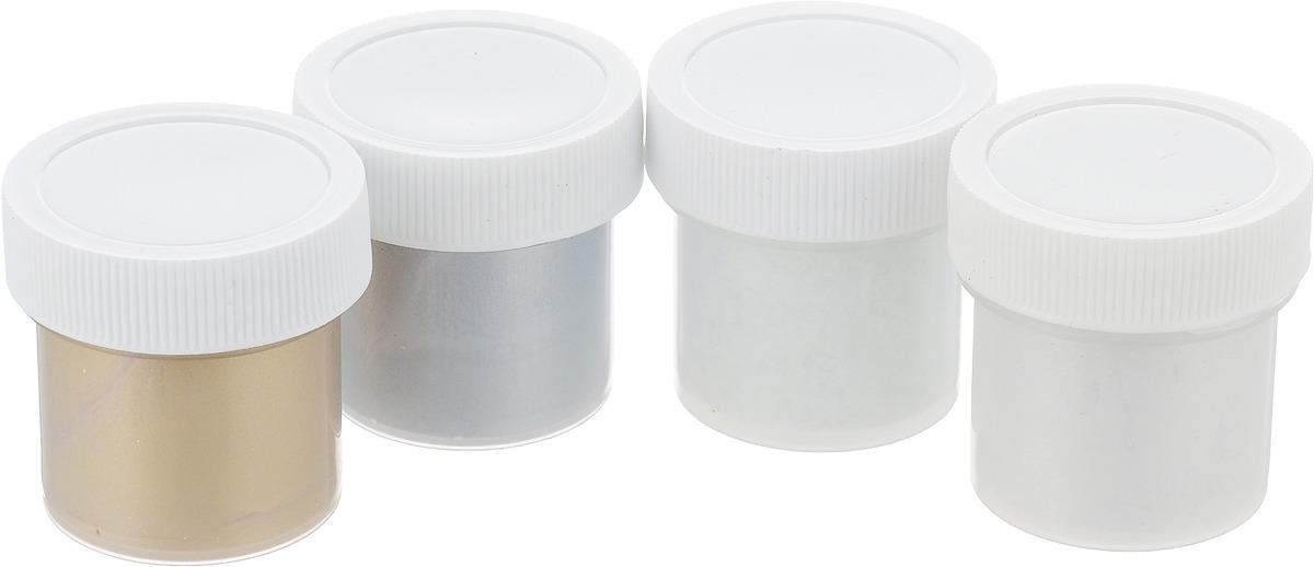 Набор акриловых красок для ткани Olki Металлик, 4 цвета краска акриловая olki 100мл металлик серебряная