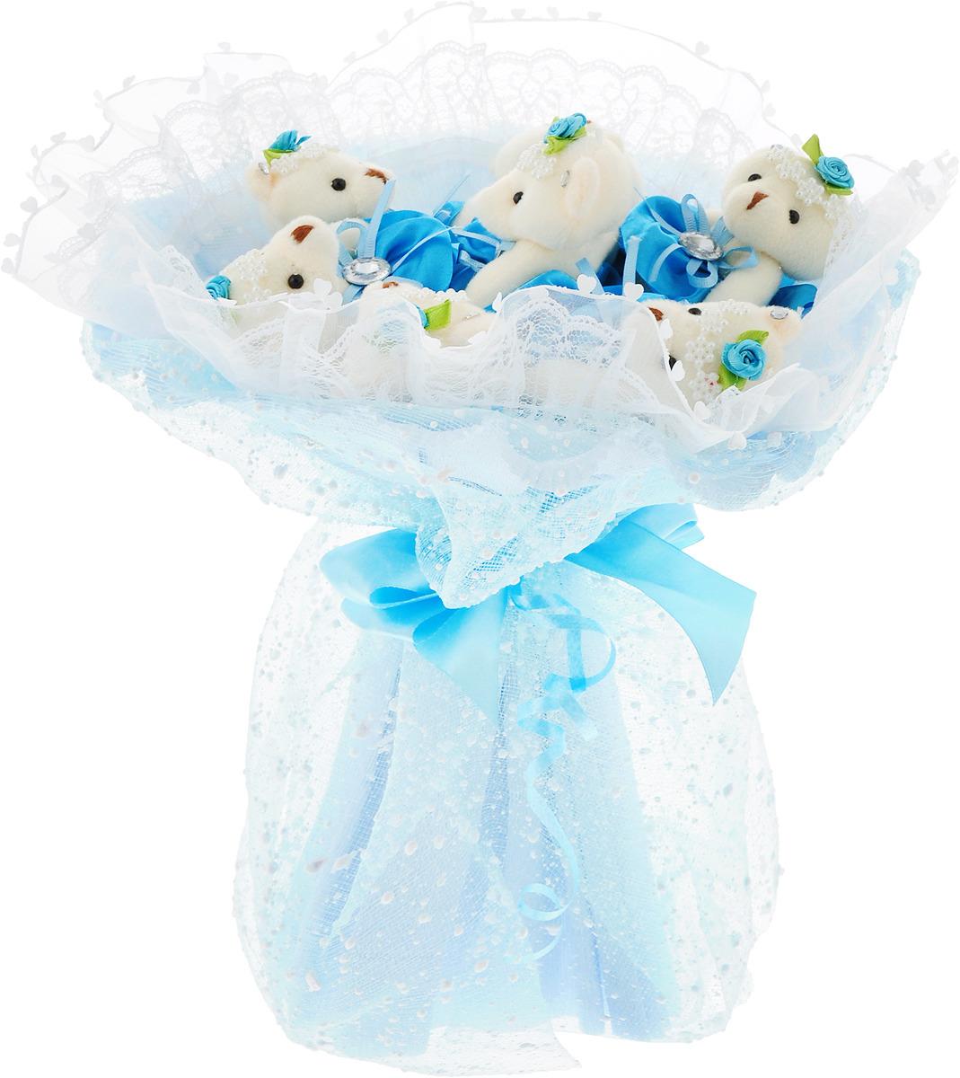 """Букет из игрушек Toy Bouquet """"Медвежата """"Зефирки"""", цвет: голубой, 7 игрушек"""
