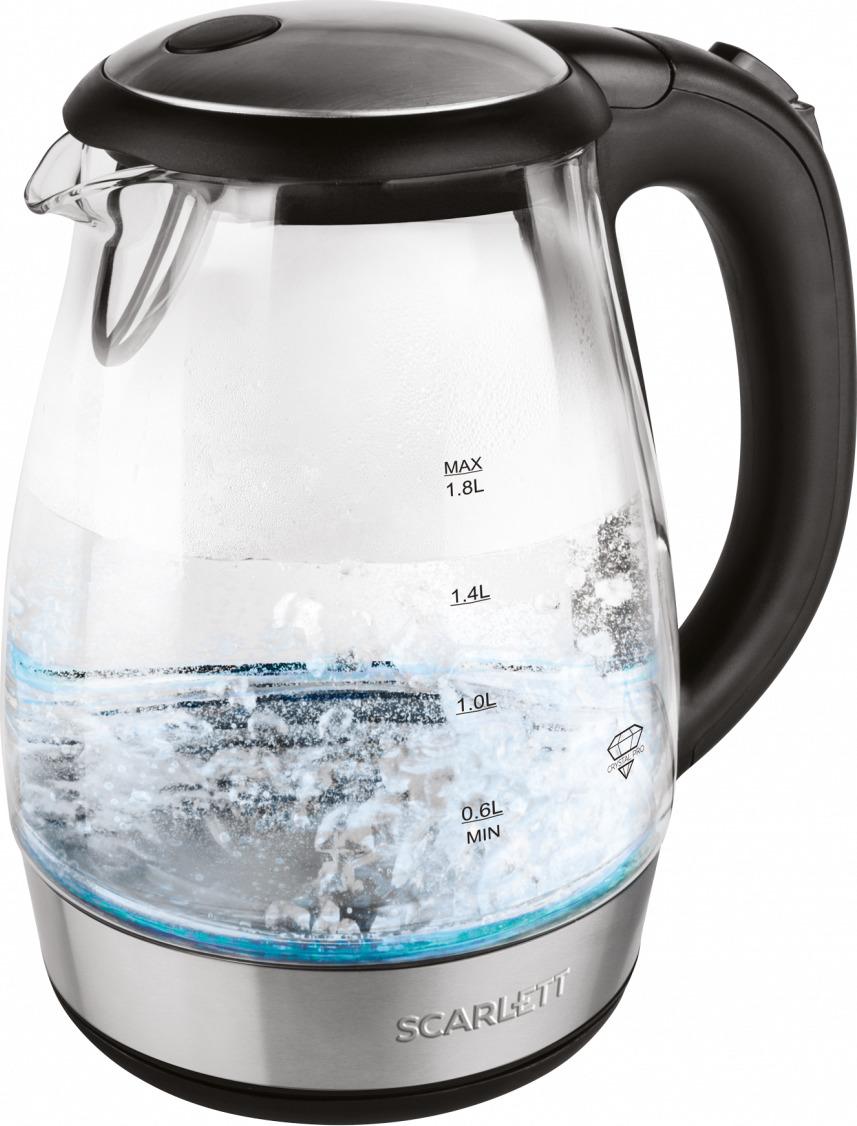 Электрический чайник Scarlett, SC-EK27G56, серебристый, черный
