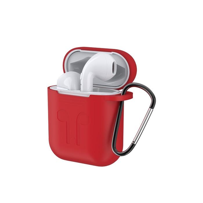Фото - Чехол силиконовый для Apple AirPods Devia Naked Silicone Case Suit с карабином и креплением на Apple Watch, 6938595313165, красный беспроводное зарядное устройство 3 в 1 для смартфона apple watch apple airpods devia 18w