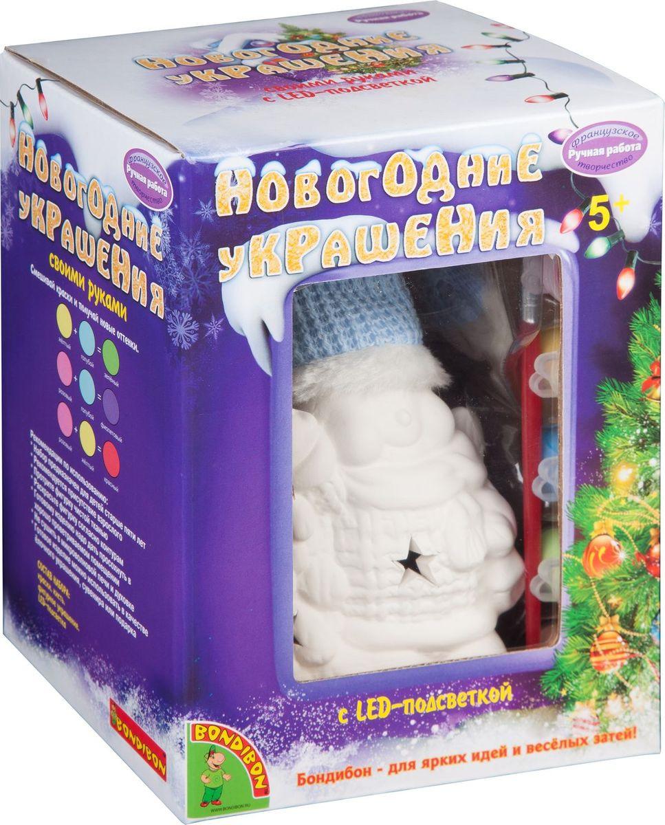 """Набор для росписи Bondibon """"Новогодние украшения. Снеговик с подсветкой"""""""