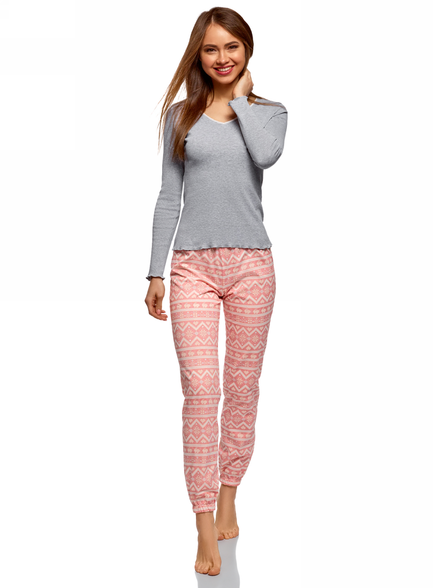 Пижама женская oodji, цвет: светло-серый, розовый. 56002226/46154/2041E. Размер L (48)56002226/46154/2041EПижама хлопковая с брюками