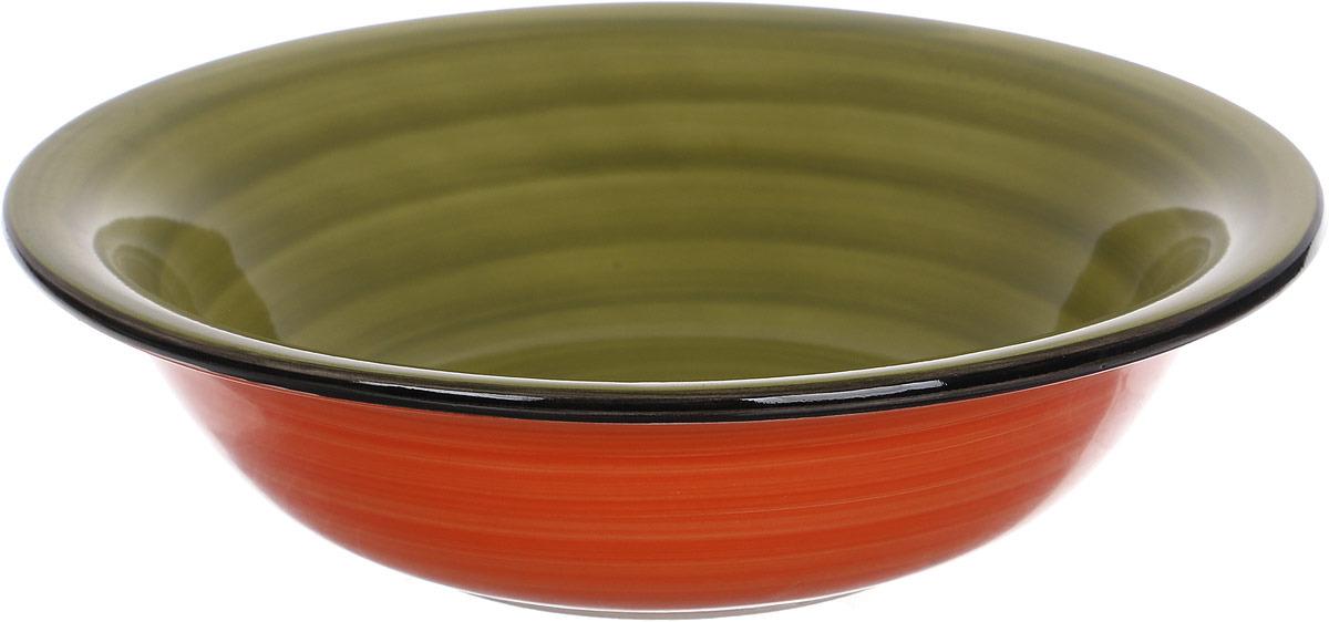 Салатник Gotoff , цвет: оранжевый, зеленый, диаметр 14 см тарелка gotoff цвет белый диаметр 20 5 см