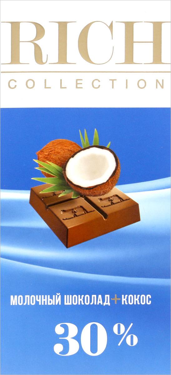 Rich Шоколад молочный с кокосовой стружкой, 70 г chco лев с сердцем молочный детский шоколад 70 г