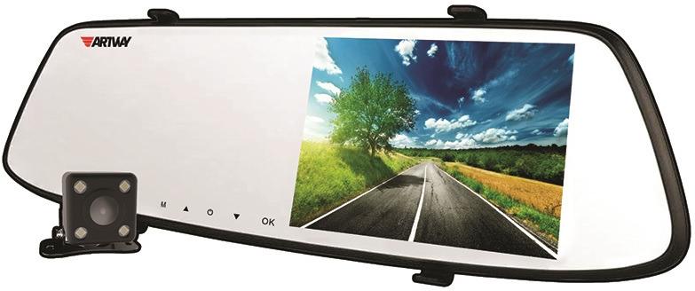 Видеорегистратор-зеркало Artway AV-604 Super HD, с 2 камерами, черный
