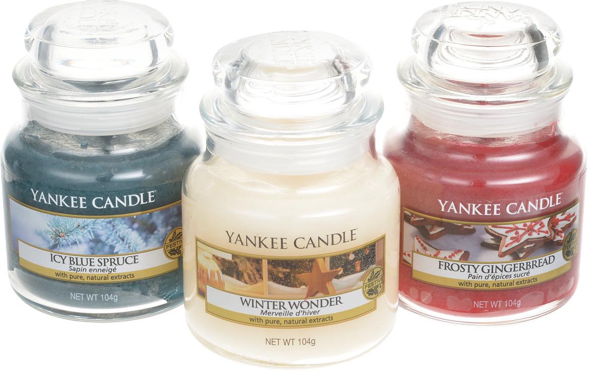 Набор ароматизированных свечей Yankee Candle Праздничное сияние Заснеженная ель + Имбирный пряник с глазурью + Новогоднее чудо, 1599960 ель искусственная заснеженная actuel 180см