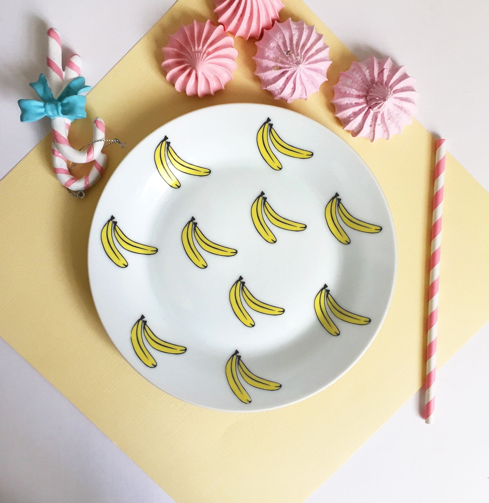 Тарелка Сотвори Чудо Бананы 20 см, белый тарелка сотвори чудо киска диаметр 23 см