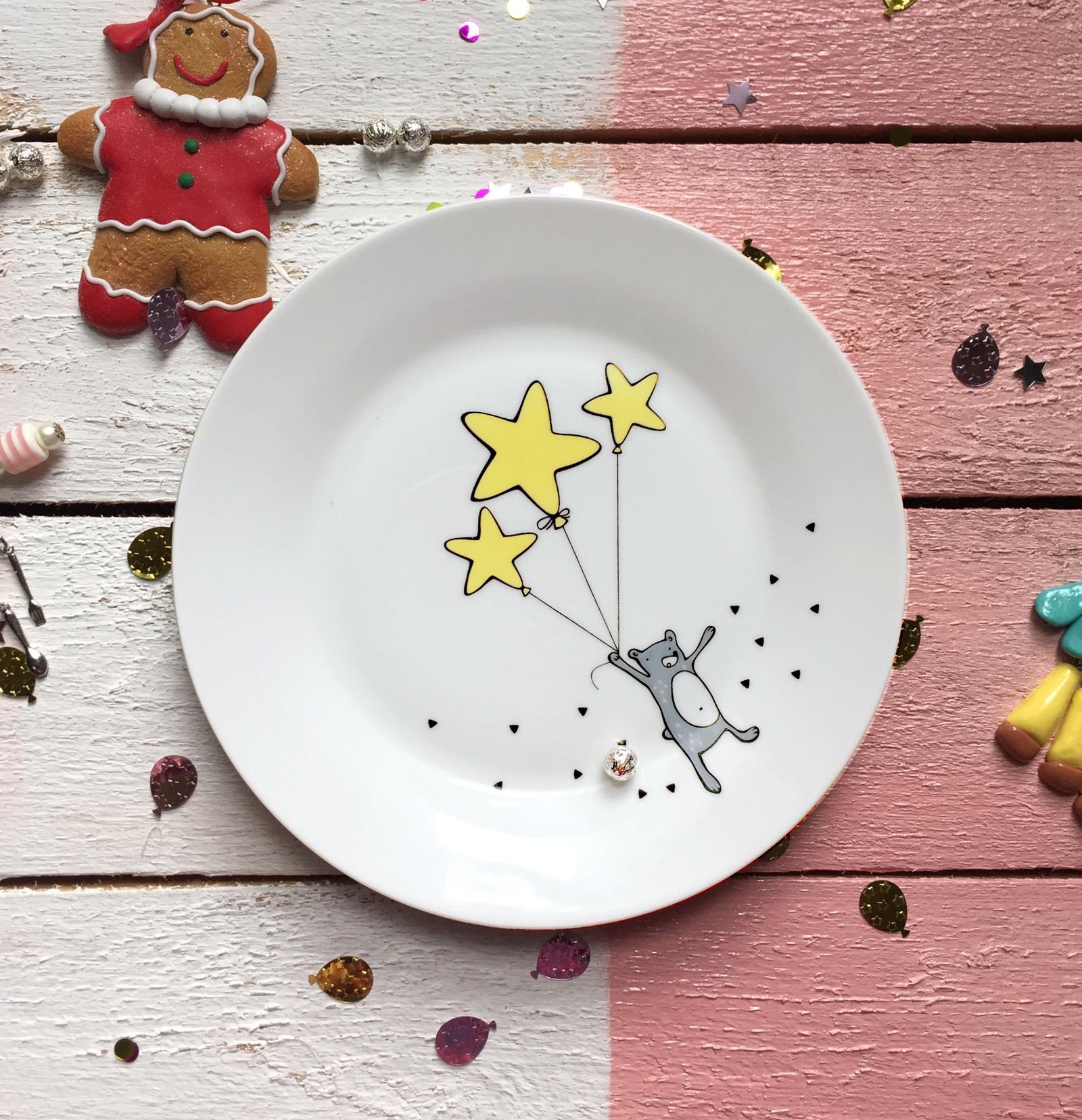 Тарелка Сотвори Чудо Звёздный мишка 20 см, белый тарелка мелкая сотвори чудо розовый фламинго диаметр 20 см