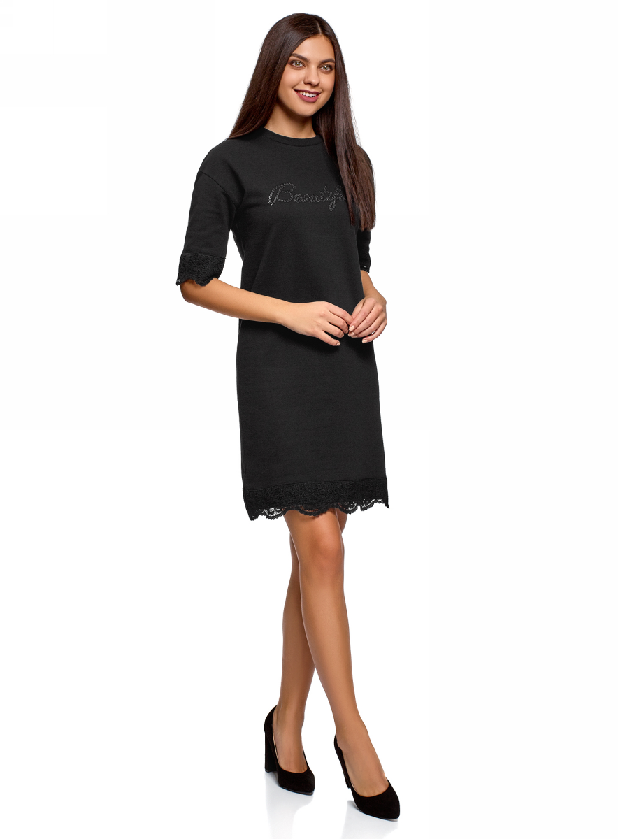 Платье oodji платье под кожу с кружевом купить