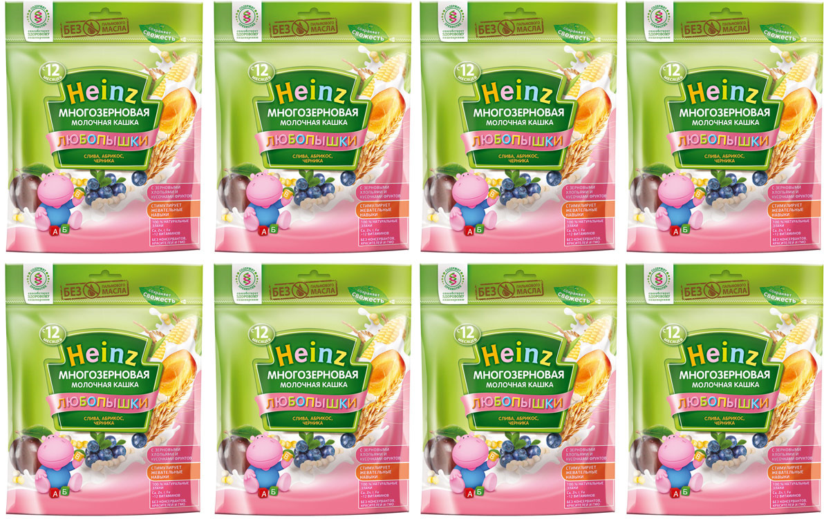 Каша Heinz молочная многозерновая слива, абрикос, черника, 12 месяцев, 8 шт по 200 г