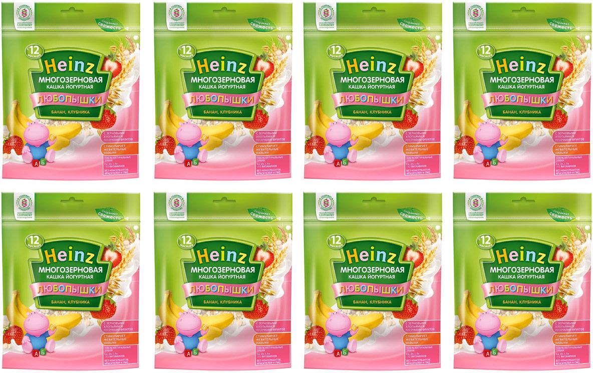 Каша Heinz йогуртная многозерновая банан, клубника, 12 месяцев, 8 шт по 200 г