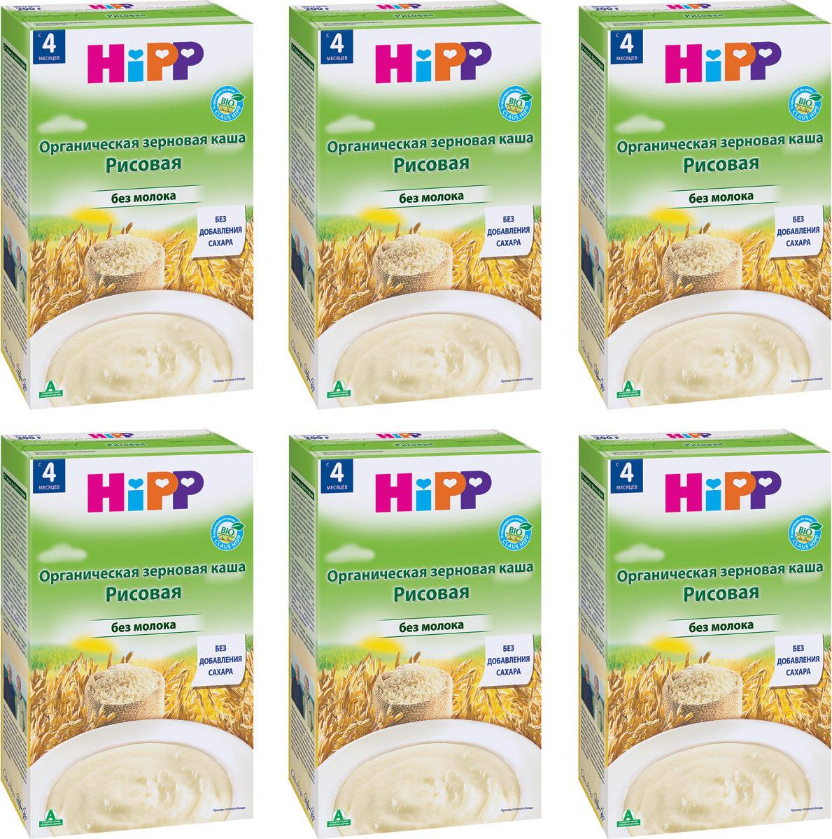 Hipp каша органическая зерновая рисовая, с 4 месяцев, 6 шт по 200 г hipp морковно рисовый отвар орс 200 с 4 мес