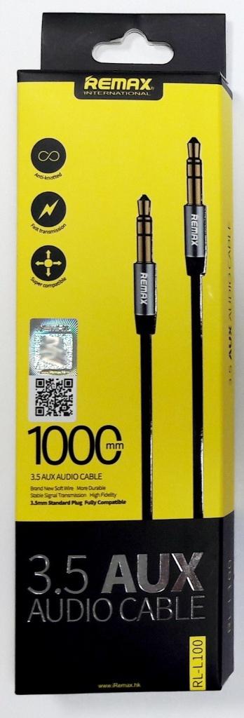 """Кабель аудио """"Remax RL-L100"""" 3,5 AUX, черный, длина 1м"""