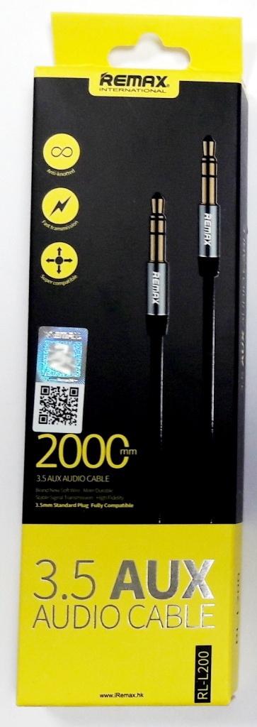 """Кабель аудио """"Remax RL-L200"""" 3,5 AUX, черный, длина 2м"""