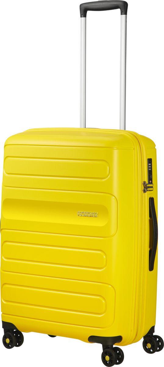 Чемодан American Tourister Sunside, четырехколесный, 51G-06001, желтый , 35 л чемодан american tourister sunside четырехколесный 51g 09001 черный 35 л