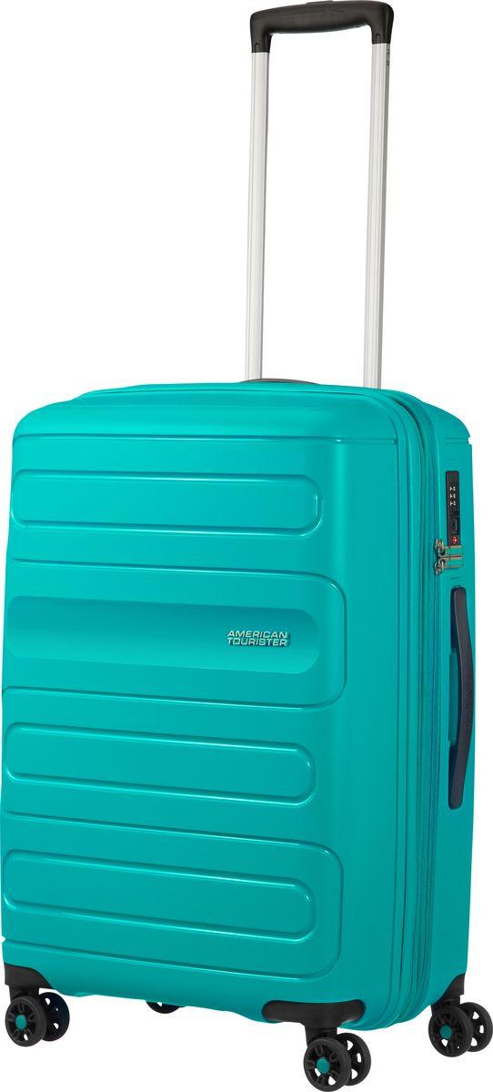 Чемодан American Tourister Sunside, четырехколесный, 51G-21001, бирюзовый, 35 л чемодан american tourister sunside четырехколесный 51g 09001 черный 35 л