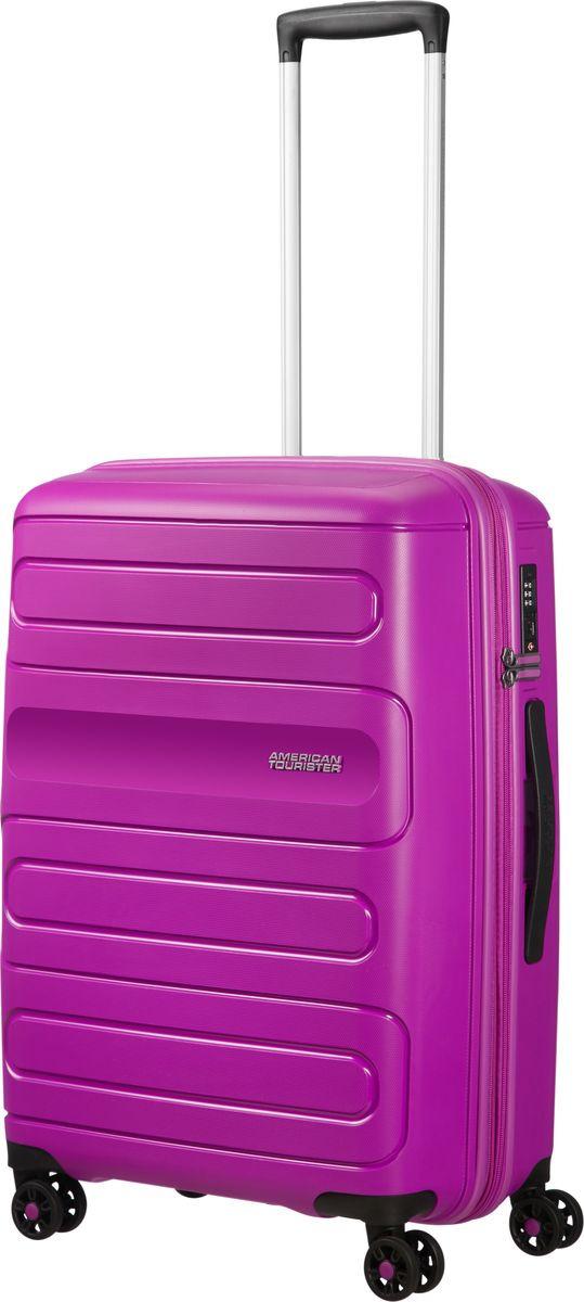 Чемодан American Tourister Sunside, четырехколесный, 51G-91002, фиолетовый, 72,5 л чемодан american tourister sunside четырехколесный 51g 09001 черный 35 л