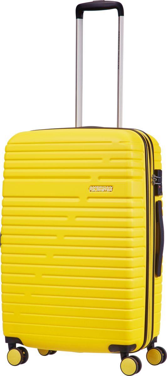 Чемодан American Tourister Aero Racer, четырехколесный, 61G-16003, желтый , 100 л чемодан american tourister aero racer четырехколесный 61g 09002 черный 66 5 л