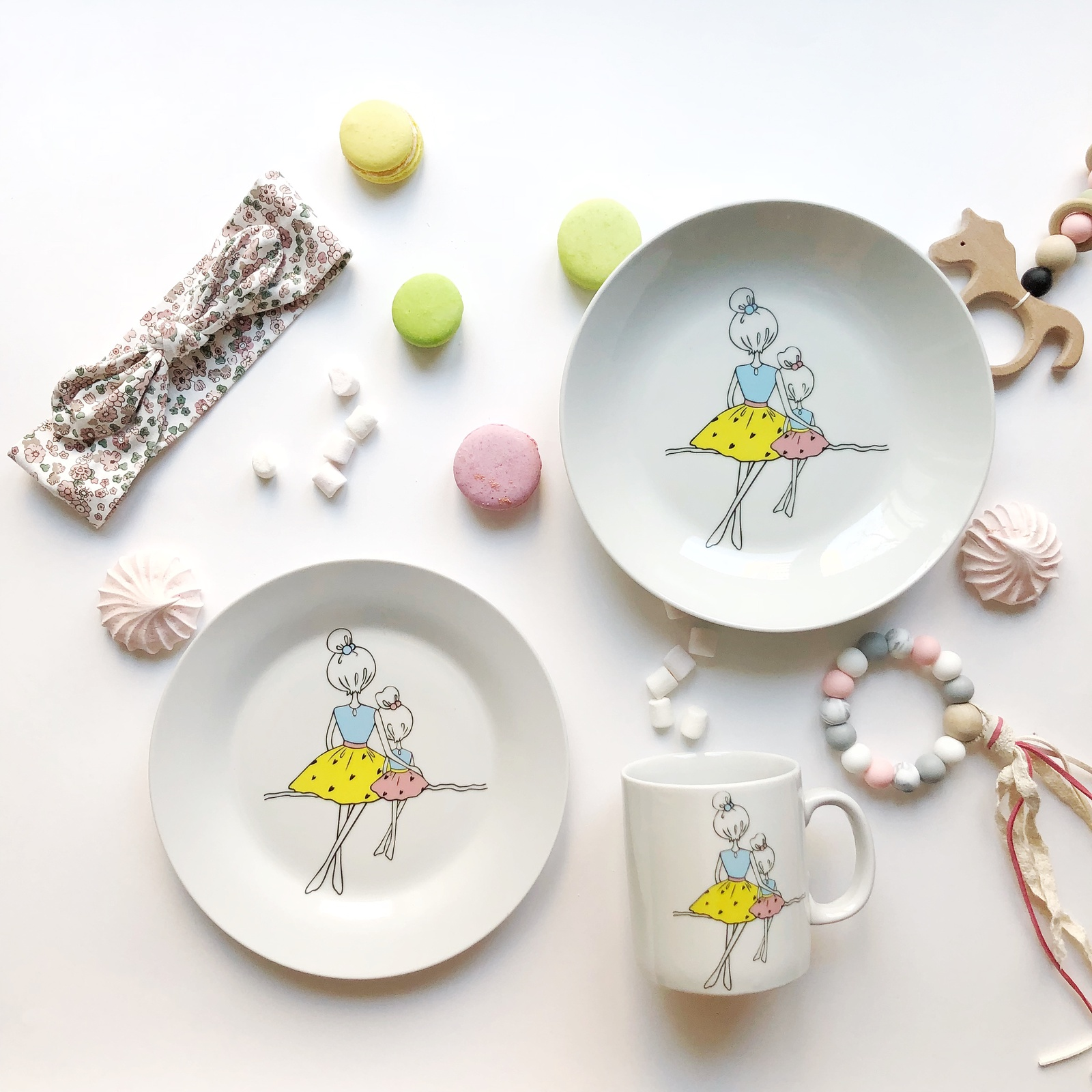 Набор посуды Мама (3 в 1: кружка+тарелка+глубокая тарелка Sans Brides)