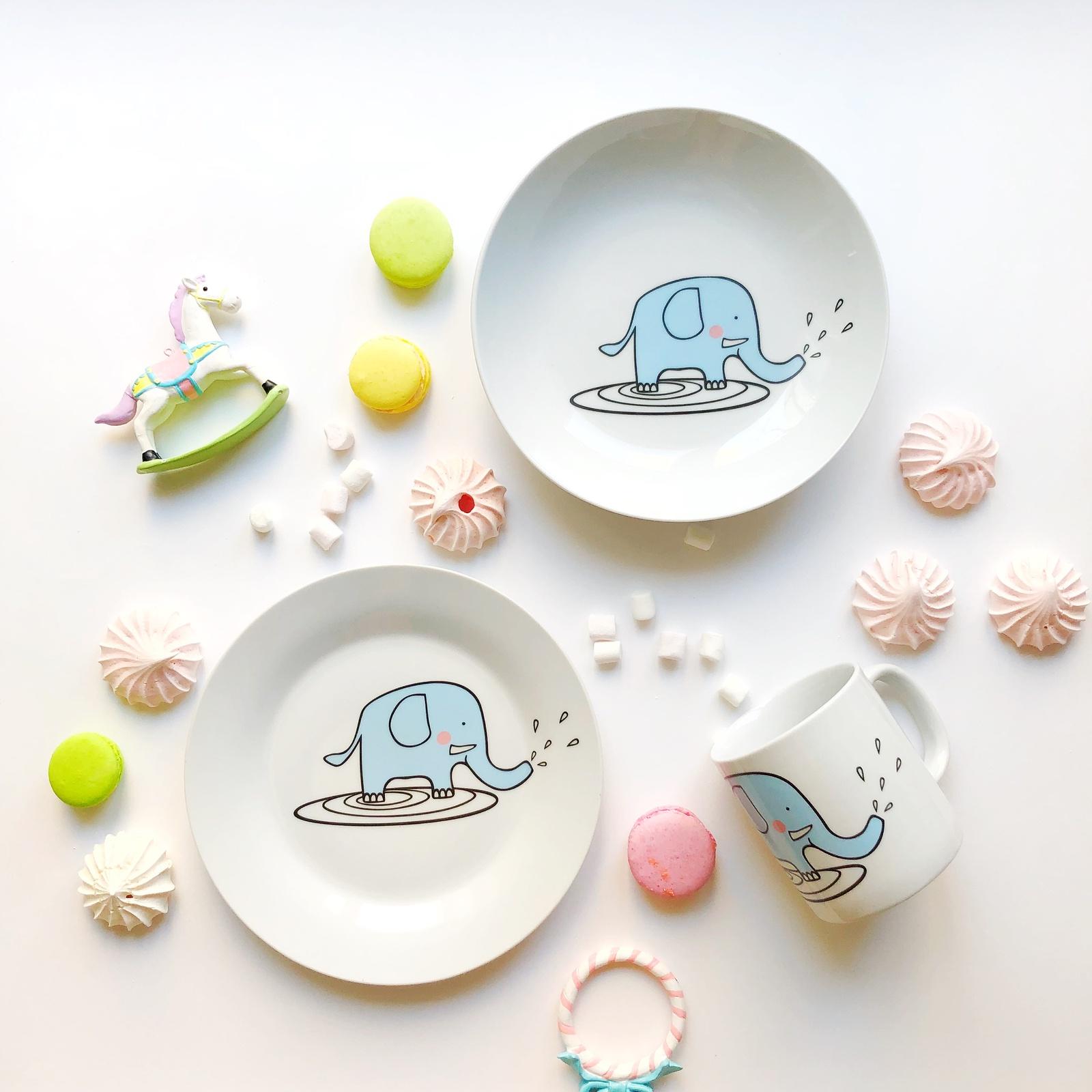 Набор посуды Слон Бубон (3 в 1: кружка+тарелка+глубокая тарелка Sans Brides) тарелка сотвори чудо слон бубон 20 см фарфор