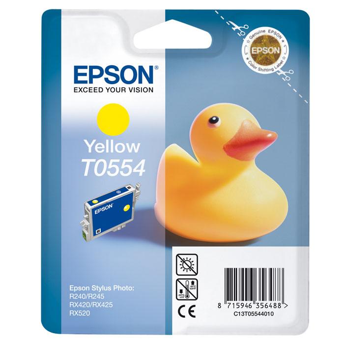 Фото - Картридж Epson T0554, желтый, для струйного принтера, оригинал картридж cactus cs ept0554 для epson stylus rx520 r240 желтый 350стр