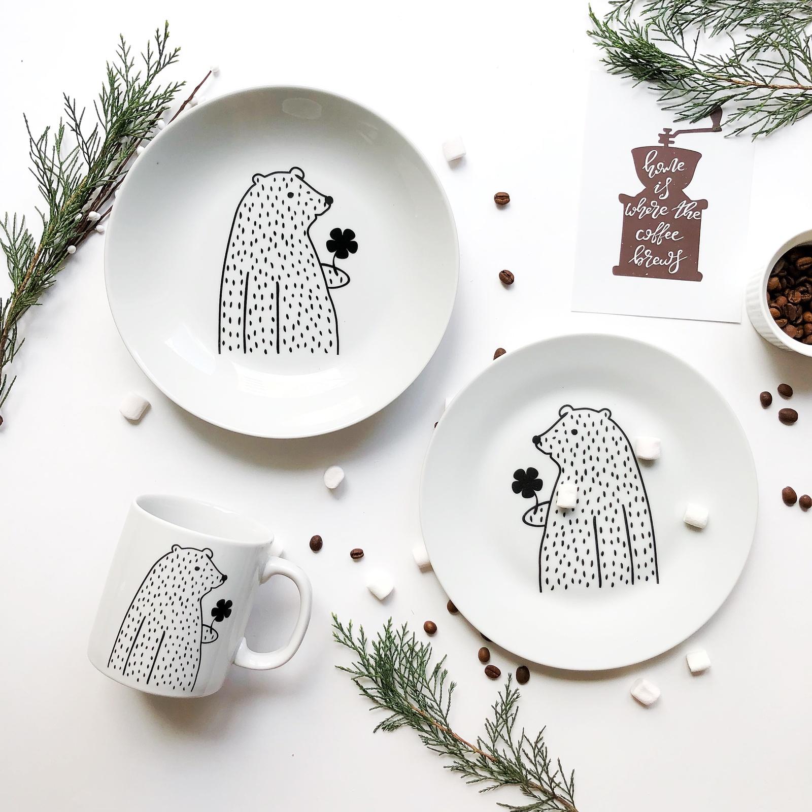 Набор столовой посуды Сотвори Чудо Набор посуды Цветочный мишка (3 в 1: кружка+тарелка+глубокая тарелка Sans Brides), белый тарелка мелкая сотвори чудо цветочный мишка диаметр 20 см