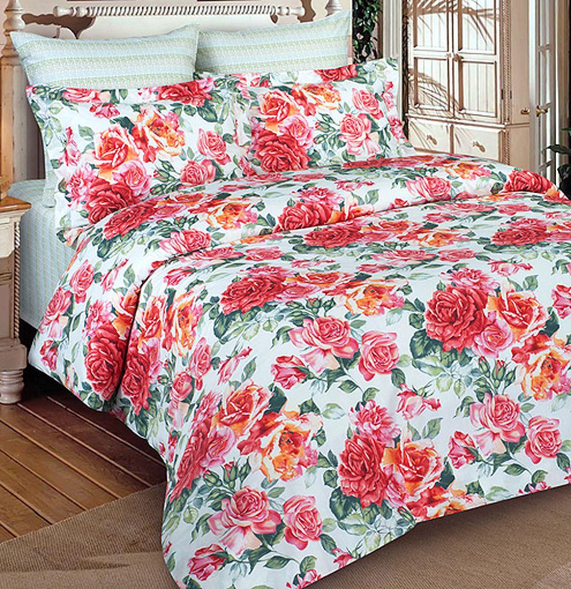 Комплект белья Buenas Noches Rosabella, 2-спальный, 3406, зеленый, розовый, наволочки 70 х 70, 50 х 70 см