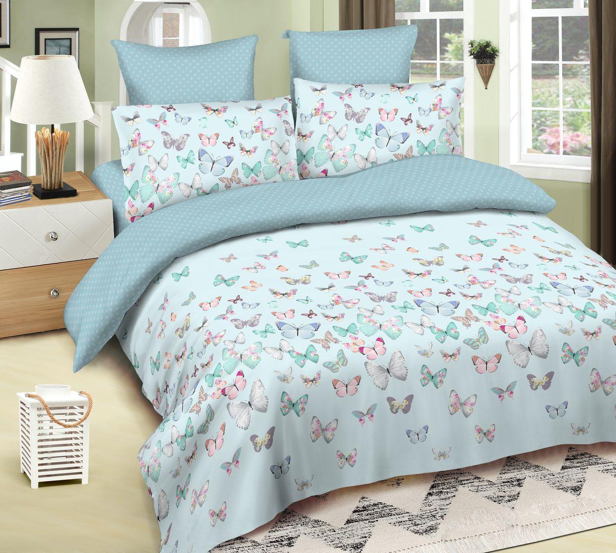 Комплект белья Amore Mio Gold Fiona, 5549, голубой, 2-спальный, наволочки 70x70