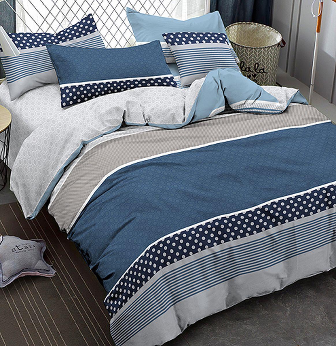 Комплект белья Amore Mio Gold Bulat, 7561, синий, 2-спальный, наволочки 70x70