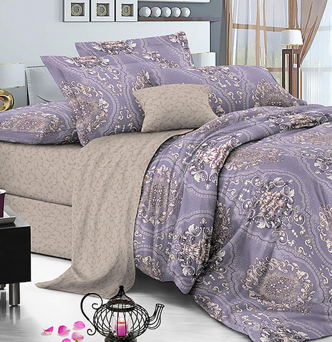 Комплект белья Amore Mio Gold Violetta, 7577, бежевый, фиолетовый, евро, наволочки 70x70 комплект белья amore mio gold violetta 7577 бежевый фиолетовый евро наволочки 70x70