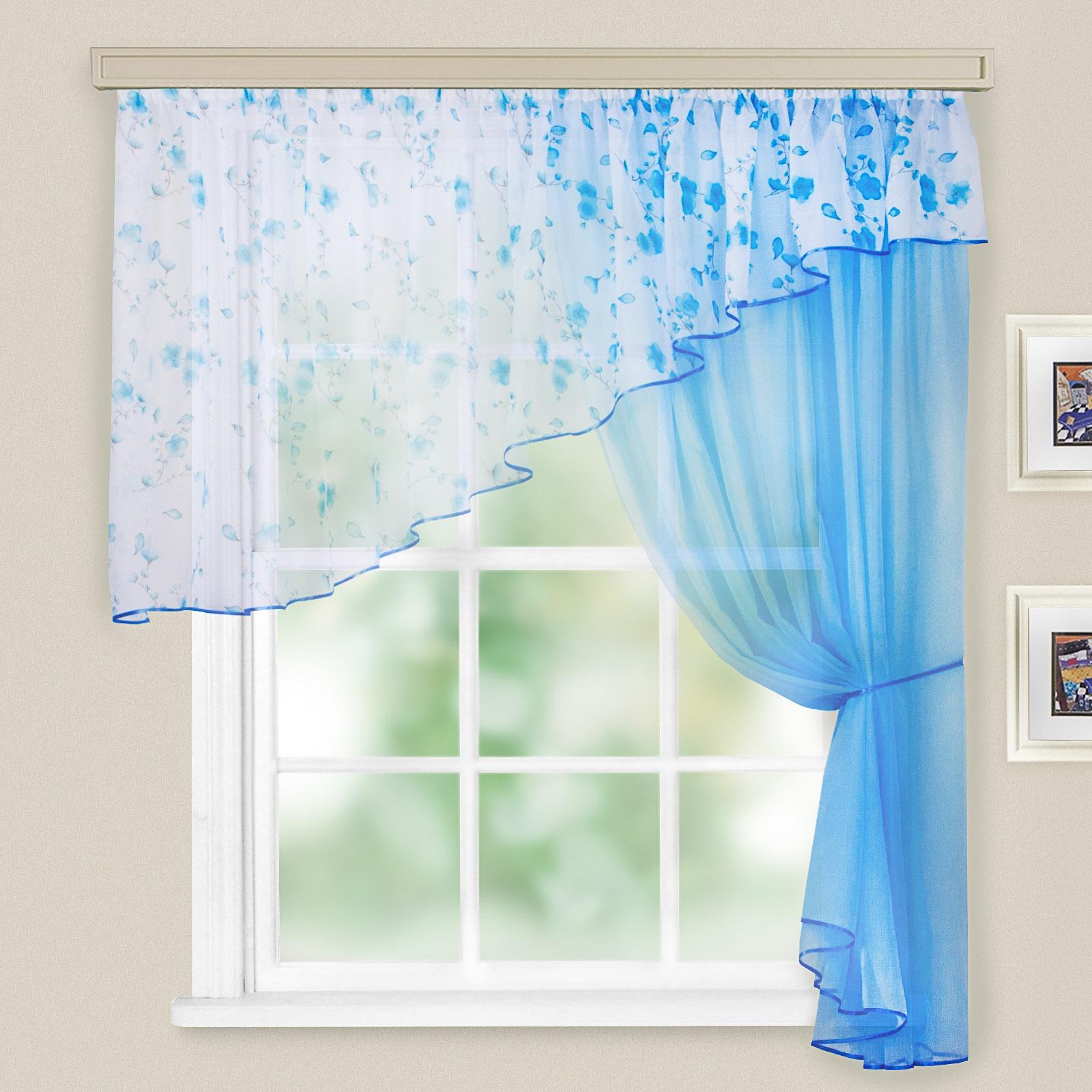 шторы для кухни в голубом фото миф