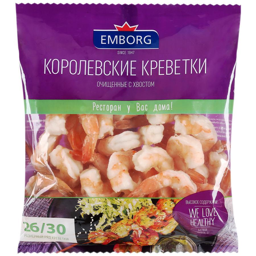 Свежие морепродукты Emborg Креветки 26/30 очищенные, с хвостиком, варено-мороженые, 425 г свежие морепродукты азов трейд улитки по лимузински тарелка 170 г