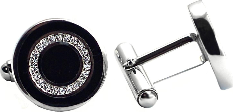 Запонки Диадема из серебра с  эмалью и  фианитом