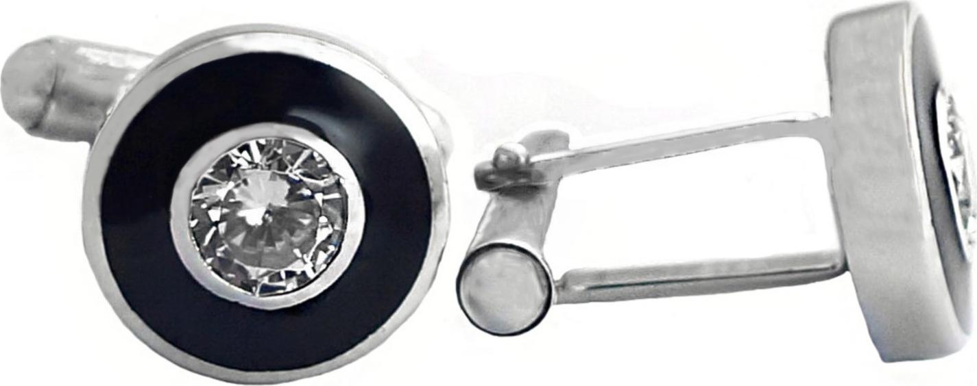 Запонки Диадема из серебра с  эмалью и  фианитом (1108)