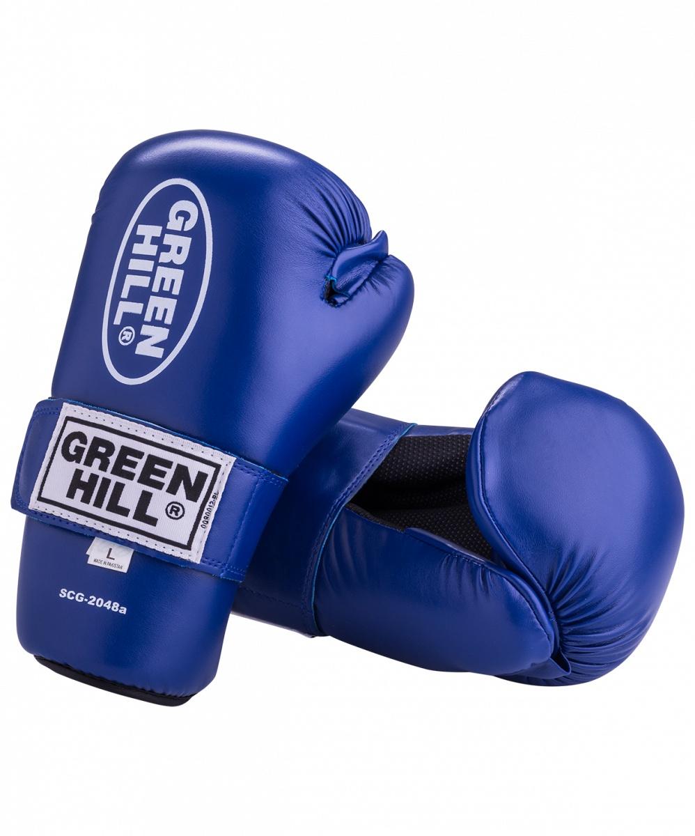 Накладки для карате Green Hill 7-contact SCG-2048, к/з, синий перчатки для карате green hill cobra kmс 6083 8961015017372 синий
