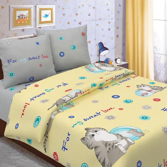 Детский комплект постельного белья ТК Традиция ДайПоспать, для сна и отдыха, серый, желтый