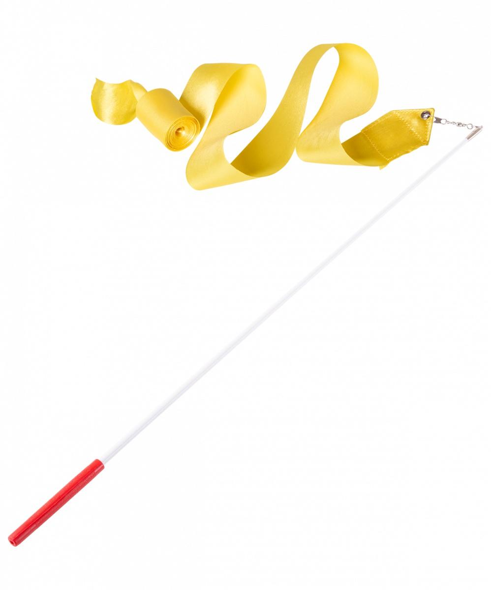 Лента для художественной гимнастики Amely AGR-201, УТ-00012834, 6 м, с палочкой 56 см, желтый лента для художественной гимнастики amely agr 201 длина 6 м с палочкой 56 см цвет розовый