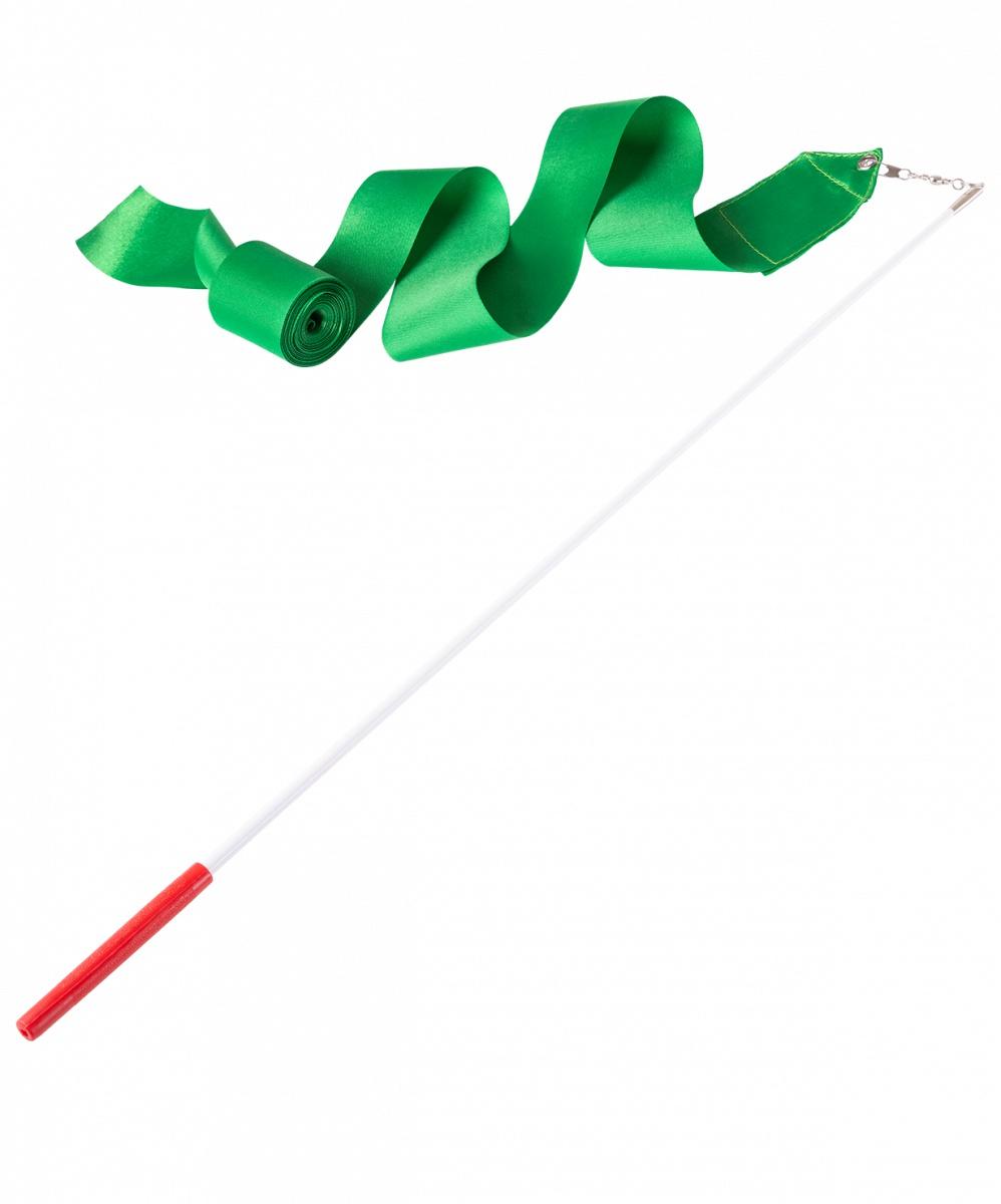Лента для художественной гимнастики Amely AGR-201, УТ-00012835, 6 м, с палочкой 56 см, зеленыйУТ-00012835Лента для х/г Данная лента продаётся в комплекте с палочкой. Крепится с помощью карабина. Характеристики: Материал ленты:атласная ткань Длина ленты, м:6 Ширина ленты, см: Цвет ленты:зеленый Материал палочки:стеклопластик (фибровое стекло) Длина палочки, см: Тип крепления:карабин Материал карабина:хром Цвет карабина:металлик