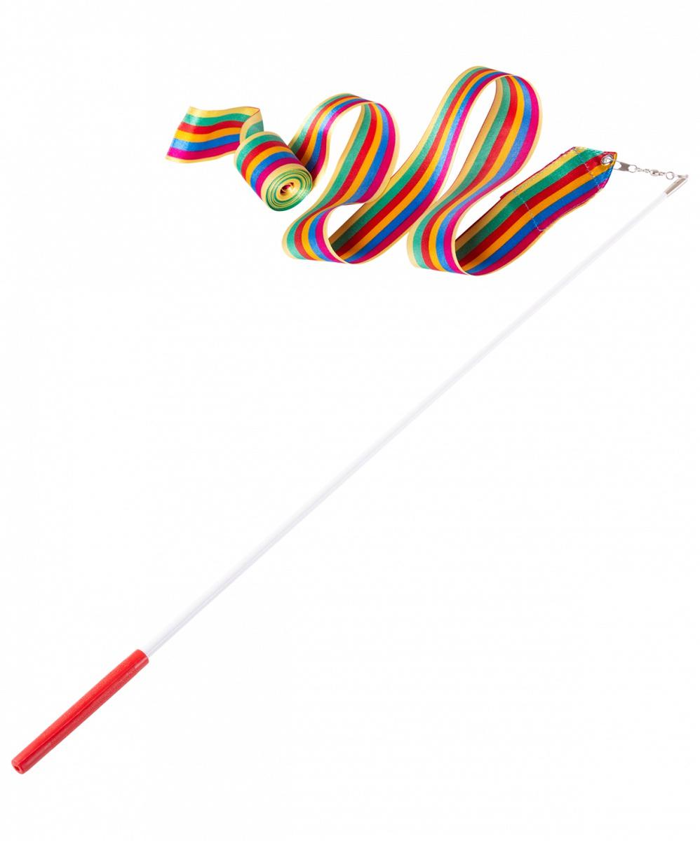 Лента для художественной гимнастики Amely AGR-201, УТ-00012829, 4 м, с палочкой 46 см, радуга лента для художественной гимнастики amely agr 201 длина 6 м с палочкой 56 см цвет розовый