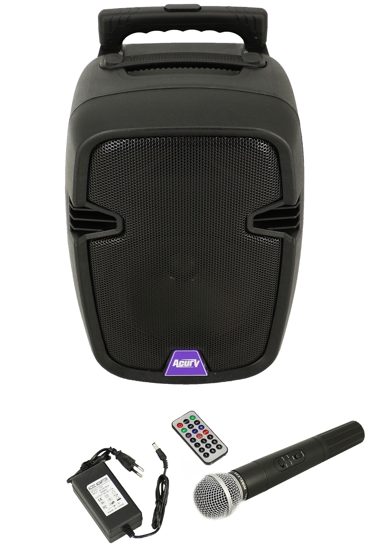 Мобильная (портативная) акустическая система с встроенным усилителем, аккумулятором и микрофоном, Acury AS-8, MF00820, черный