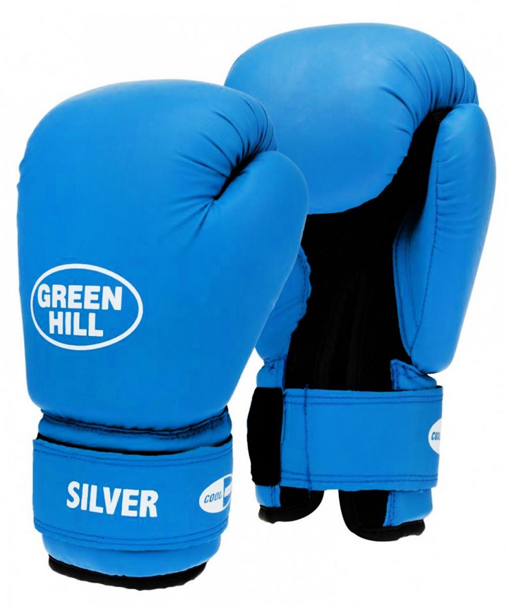Перчатки боксерские Green Hill SILVER BGS-2039, УТ-00006347, 10oz, синийУТ-00006347Перчатки боксерские SILVER BGS-2039 для начинающих спортсменов. Материал перчаток: верх сделан из синтетической кожи, ладонь из дышащей сетки. Перчатки имеют яркий цвет и сделаны из прочной кожи. Фиксирующий манжет на липучке.