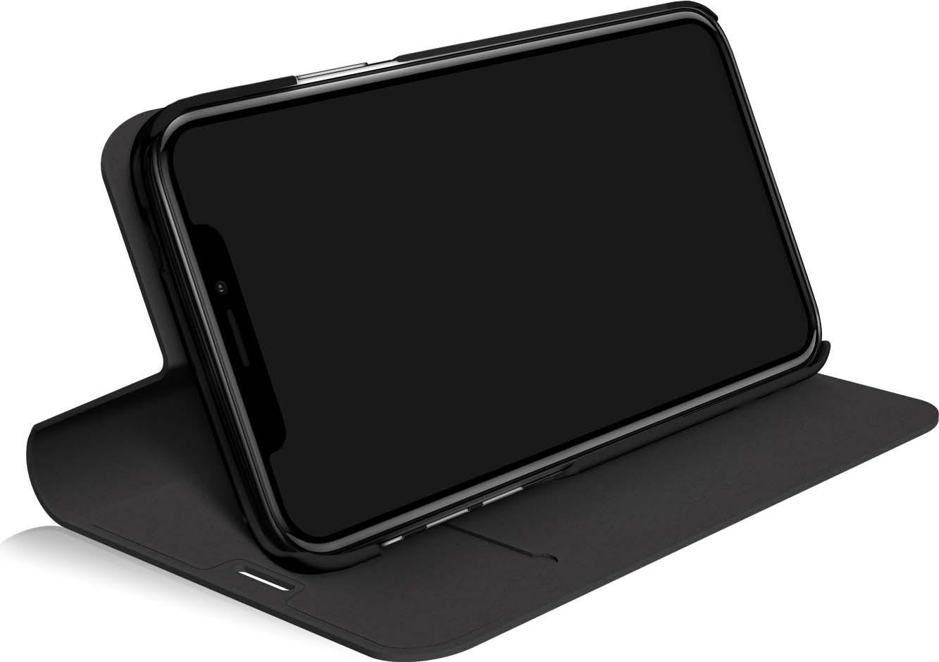 Чехол Black Rock Material Booklet Pure, для iPhone X, 800019, черный собака дизайн кожа pu откидная крышка бумажника карты держатель чехол для iphone 5