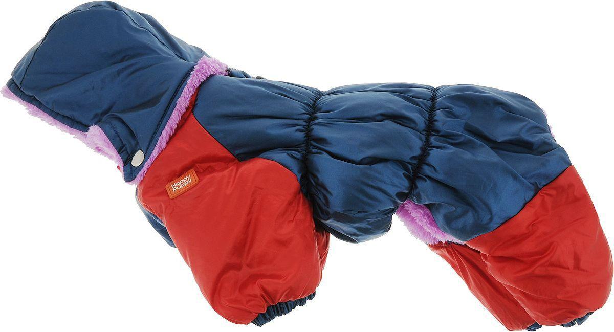 Пуховик для собак Happy Puppy, для мальчика, цвет: синий верх, красный. Размер 2 (M)