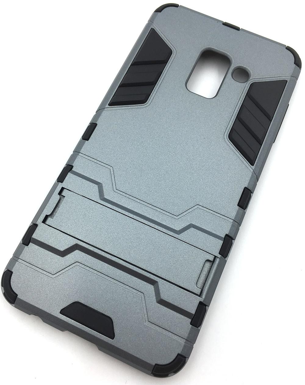 Чехол для сотового телефона Мобильная мода Samsung A8 2018 Накладка противоударная с подставкой, трансформер, темно-серый